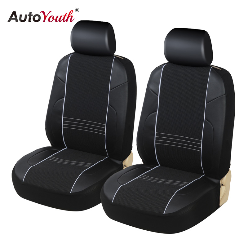 Black w//Red Insert Front Bucket Seats-Leatherette FIA SL69-55 Custom Fit Cover