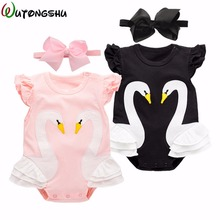 Baby Girl Clothes Animal Swan Newborn Rompers + Free Gift headband Soft Cotton Baby Girls Rompers Short-sleeve Baby Products