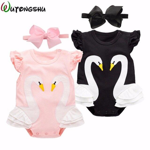 46798604d1f3 Baby Girl Clothes Animal Swan Newborn Rompers + Free Gift headband ...