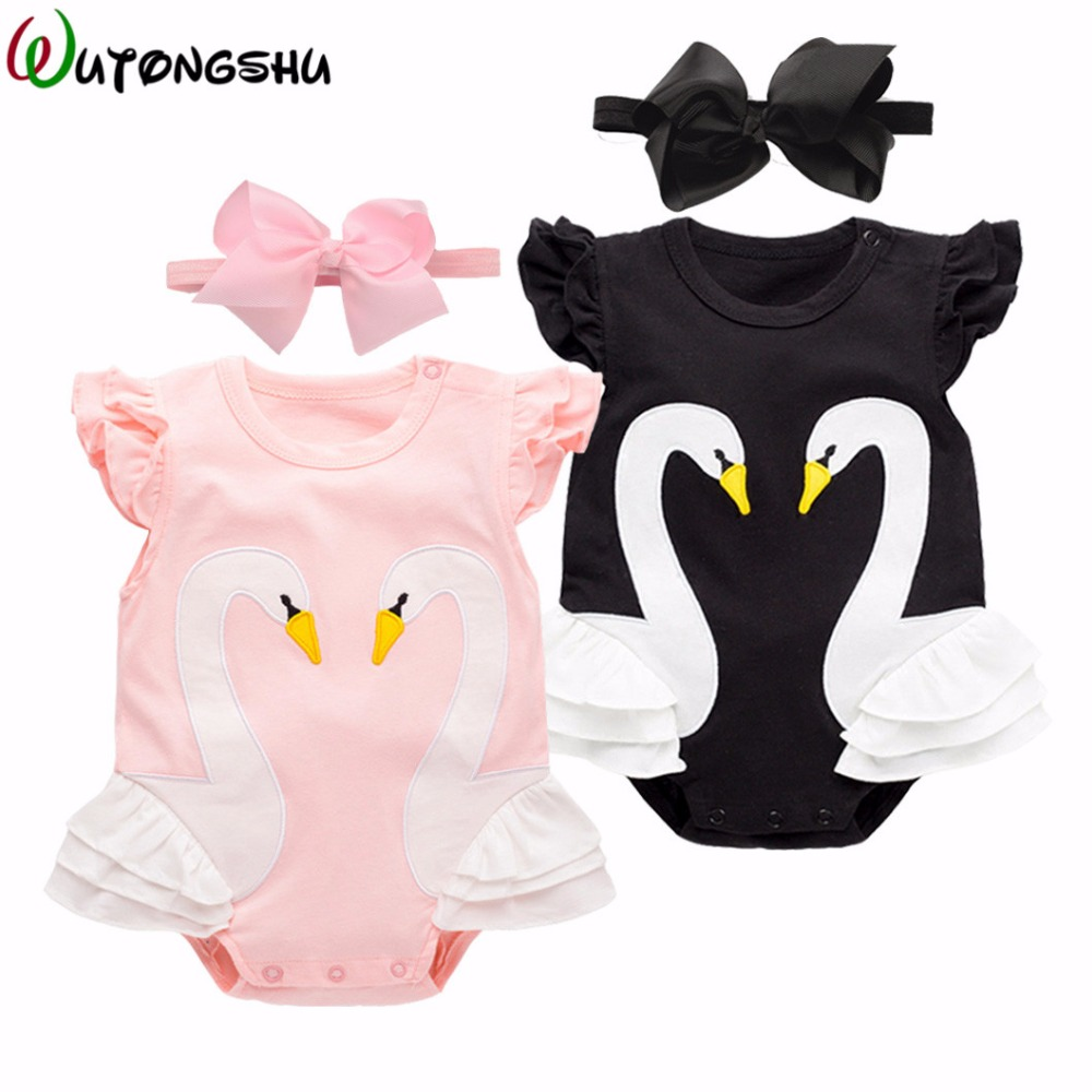 Baby Girl Clothes Animal Swan Newborn Rompers + Free Gift headband Soft Cotton Baby Girls Rompers Short-sleeve Baby Products 2pcs set newborn floral baby girl clothes 2017 summer sleeveless cotton ruffles romper baby bodysuit headband outfits sunsuit