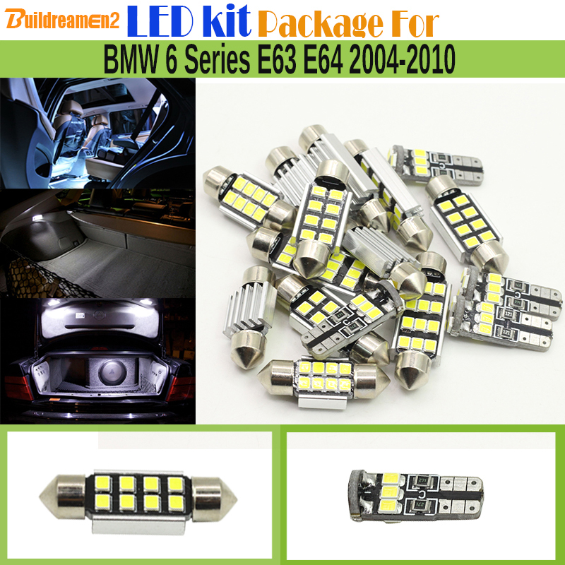 Buildreamen2 10 x Car 2835 SMD Interior Canbus LED Bulb LED Kit Package White Dome Map Light For BMW 6 Series E63 E64 2004-2010 car styling 13pcs excellent canbus led bulb interior dome map light kit package for volkswagen vw passat b6 2006 2010