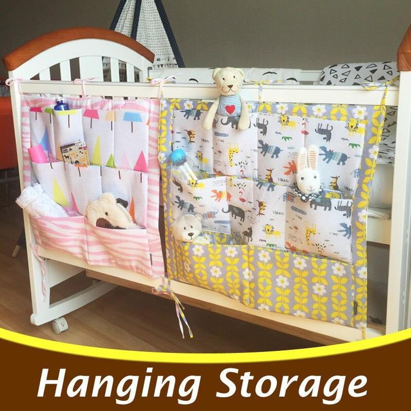 Cartoon Baby Cot Bed Hanging Storage Bag Baby Crib Organizer 60*50cm Toys Diaper Pocket for Crib Bedding Set Accessory CP23