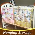 Dos desenhos animados Do Bebê Berço Cama Berço Do Bebê Pendurado Saco De Armazenamento Organizador 60*50 cm Brinquedos Fralda de Bolso para Berço Cama conjunto de Acessórios CP23