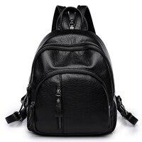 Amasie новое поступление черный рюкзак Маленькая женская школьная сумка Книга сумка натуральная кожа сумка sac dos bagpack для подростков EGT9002