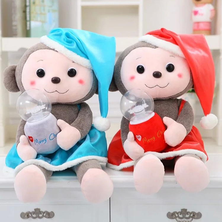 New Arrival 1PC 70Cm Blue Red Super Cute Animal Dressing Christmas Monkey Stuffed Doll Plush Toys Kids Birthday Gifts