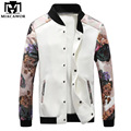 2016 New Spring Bomber Jacket Fashion Men Baseball Jacket Print Sleeve Casual Coats Veste Homme Jaqueta Masculina MJ292