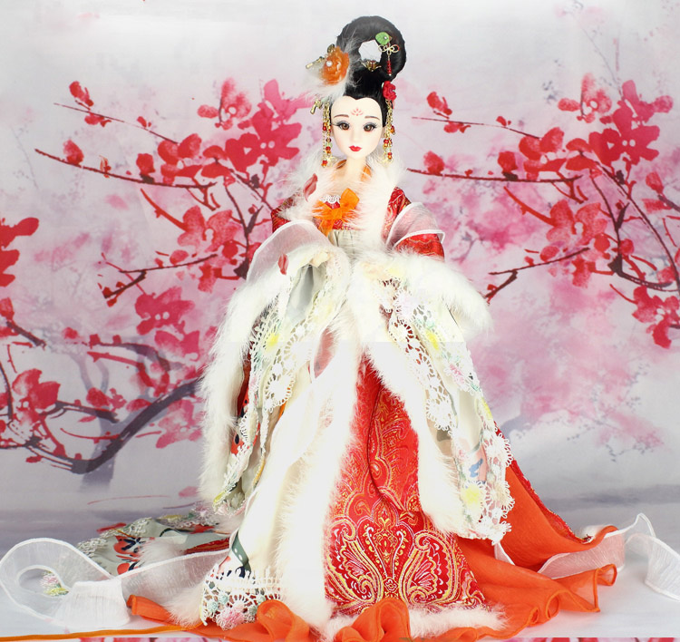 35cm Collectible Chinese Girl Dolls Orient Ancient Costume Winter BJD Doll With 12 Joints Movable Season