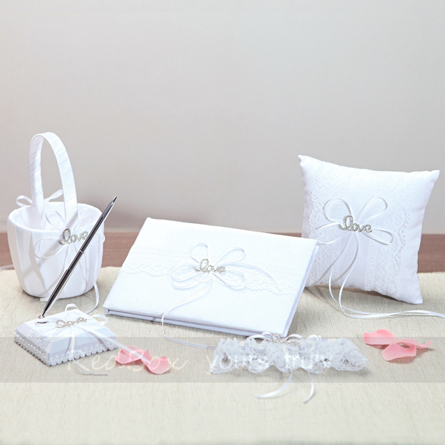 5Pcs/set White Satin Wedding Decoration Ring Pillow Flower Basket Garter Guest Book Pen Set bride Festive & Party Supplies
