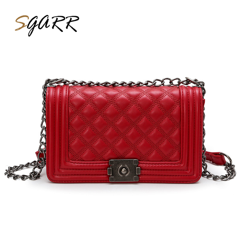 SGARR PU Leather Women Shoulder Bag Fashion Crossbody High Quality Chain Diamond Lattice Ladies Messenger Bag New Small Handbag yuanyu 2018 new hot free shipping import crocodile women chain bag fashion leather single shoulder bag small dinner packages