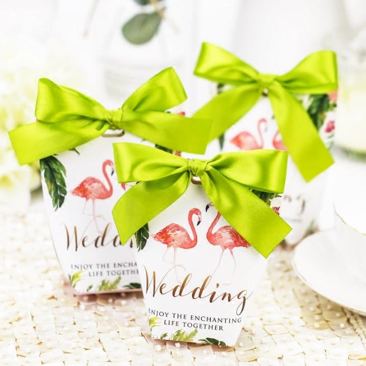 100pcs Creative Flamingo Style Wedding Favors Candy Boxes Paper