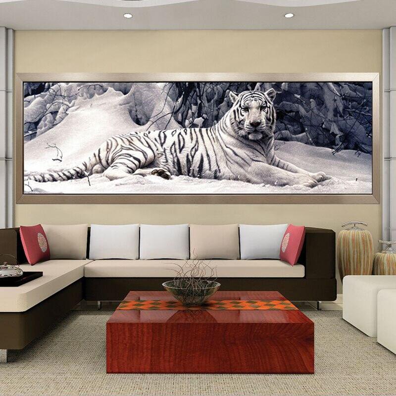 Rond/carré diamant broderie 5D bricolage diamant peinture point de croix blanc tigre diamant mosaïque animaux maison peintures artisanat