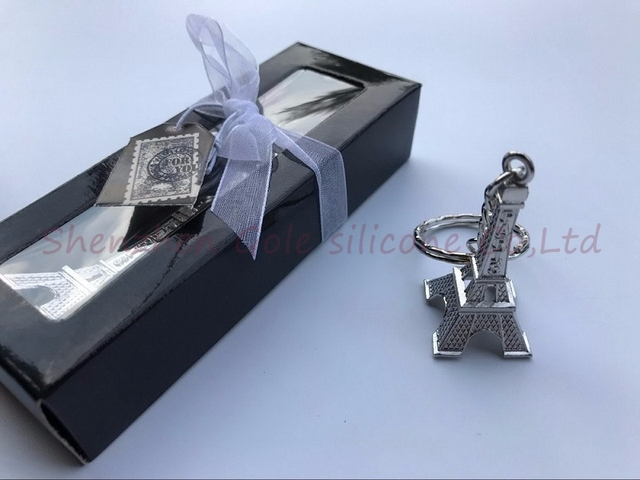 140pcs Silver Eiffel Tower Key Chain In Gift Box Paris Themed Wedding Favors Party Giveaway