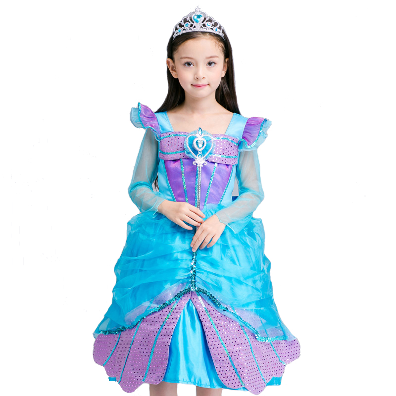 Ainiel Mermaid Princess Anime Cosplay Costume Blue Summer Fancy Lace Shinning Dress Costumes Party For Kid Girl