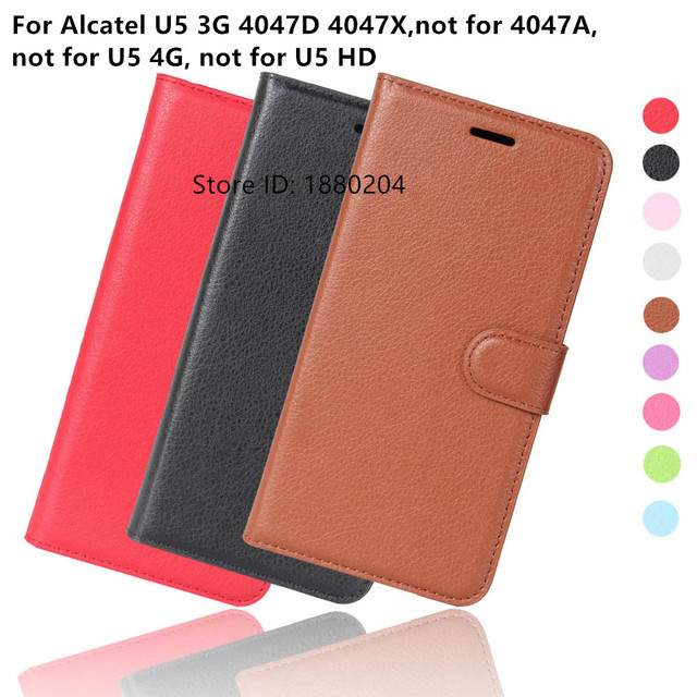 sports shoes 5c823 c005e US $3.24 20% OFF|Luxury Phone Protection Carcasa Case For Alcatel U5 U 5 3G  4047D 4047X 4047F 4047 Flip Cover Alkatel Wallet PU Leather Bags Skin-in ...
