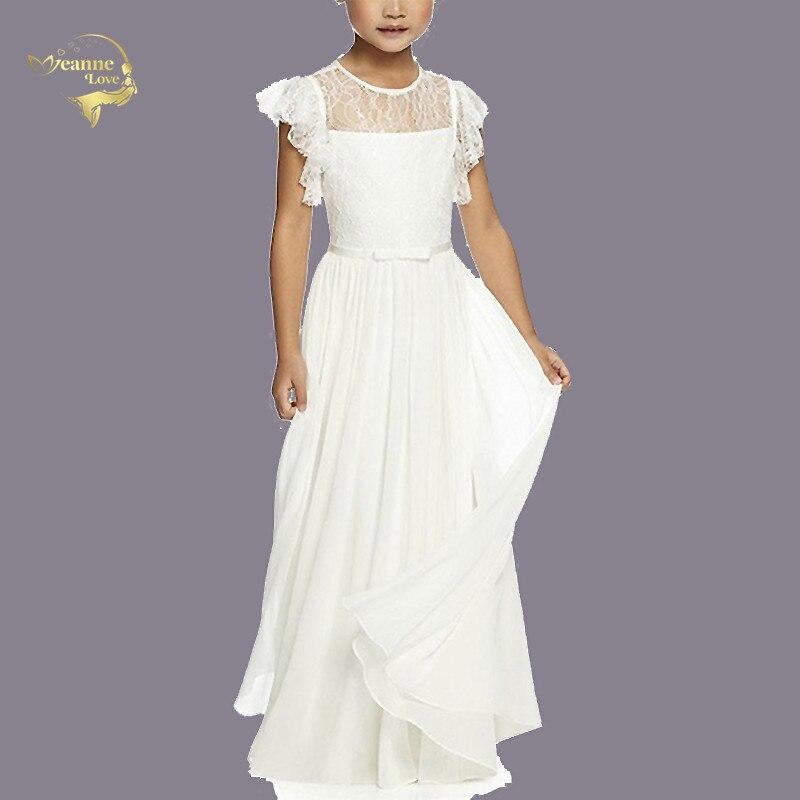 Robe de demoiselle d'honneur pour mariage robe de soirée princesse Lotus Leaf manches courtes robe de bohème de plage formelle pour enfants adolescents bébé