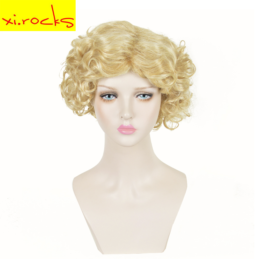 3084 Xi Rocks MOD Short Gold Blonde Curly Cosplay Wig Cos Marilyn Monroe Holiday High Temperature Fiber Synthetic Hair Wigs in Synthetic None Lace Wigs from Hair Extensions Wigs