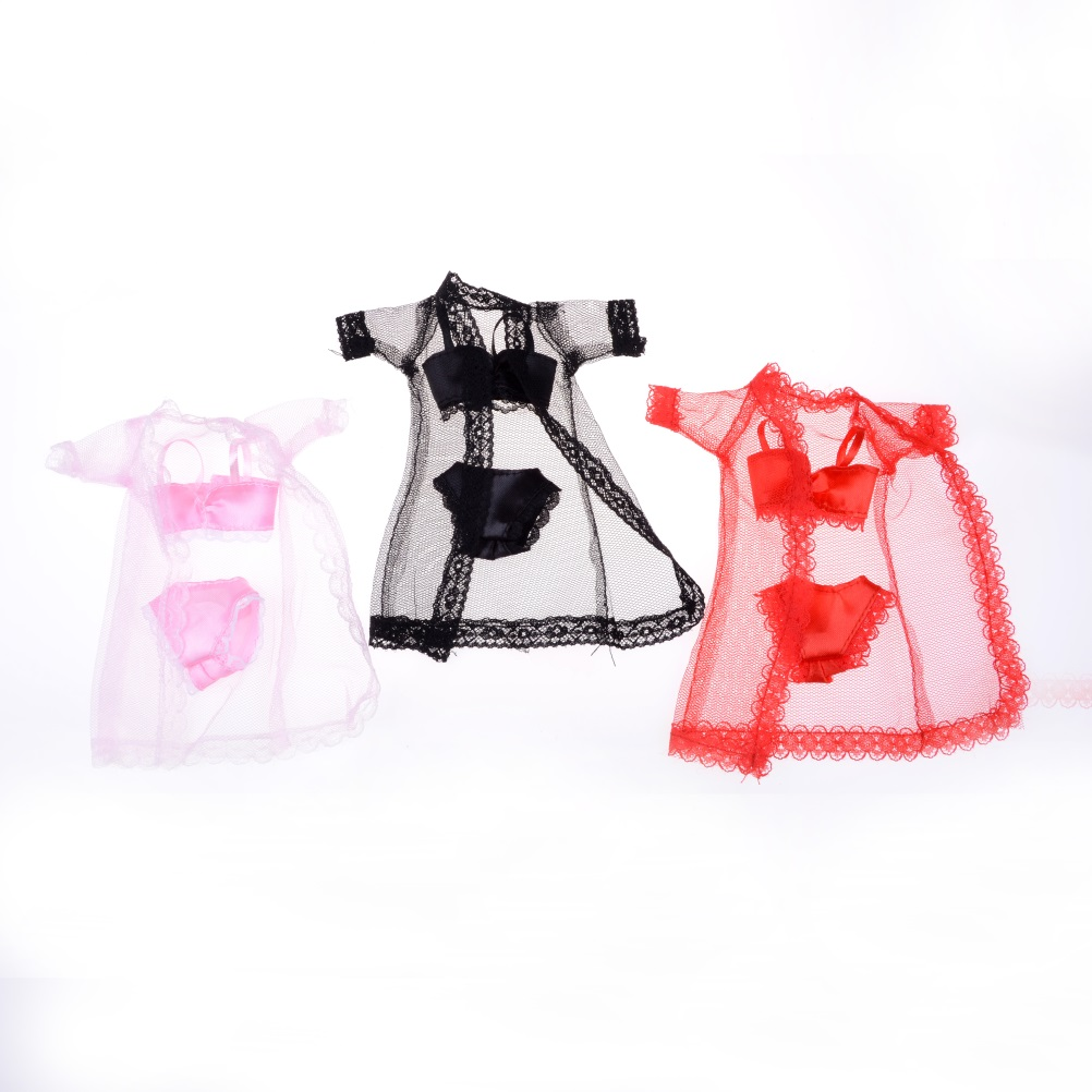 3pcs/sets Colorful Sexy Pajamas Lingerie Nightwear Lace Night Dress + Bra + Underwear Clothes For Barbie DollSkirt Clothes white sexy lace detail self tie waisted pajamas