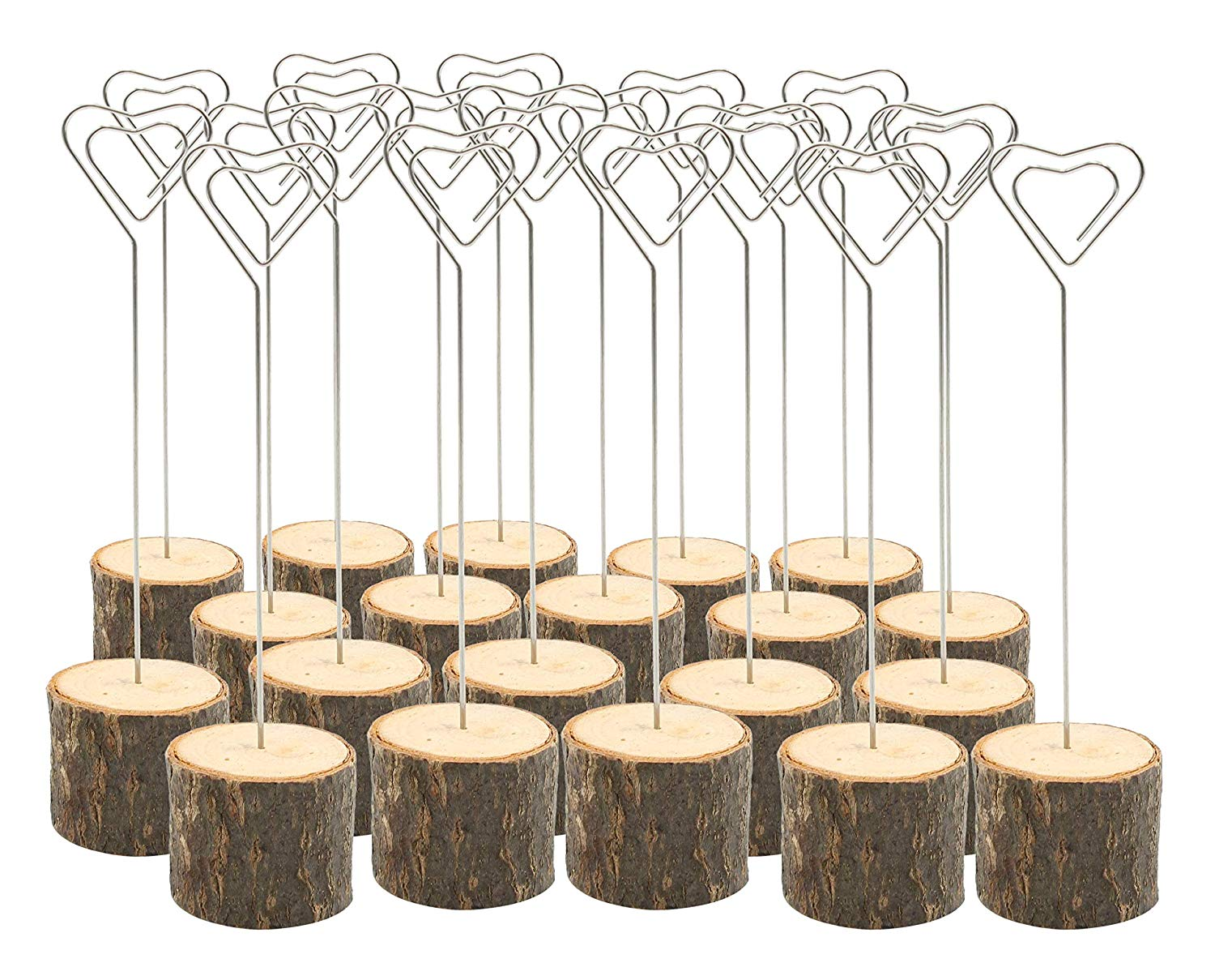 MTABLE  20pcs Rustic Real Wood Wedding Table Decoration  Card, Holders Picture Memo Note Photo Heart Shaped Clip Holder Food Tag
