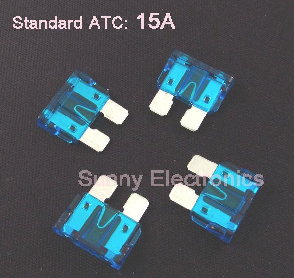 Wholesale 1000pcs/lot New Standard ATC ATO Blade Fuse 15A Blue Car Boat free ship