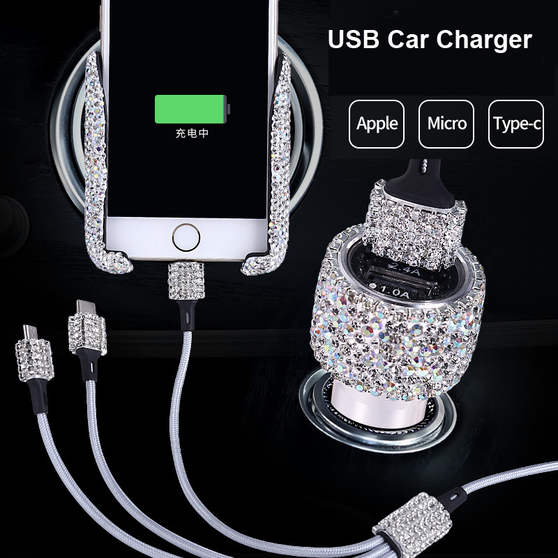 Dual USB Car Charger For Mobile Phone Tablet GPS Fast Charger Crystal Diamond Phone 3 Data Line Wire in Car Cigarette Lighter(China)