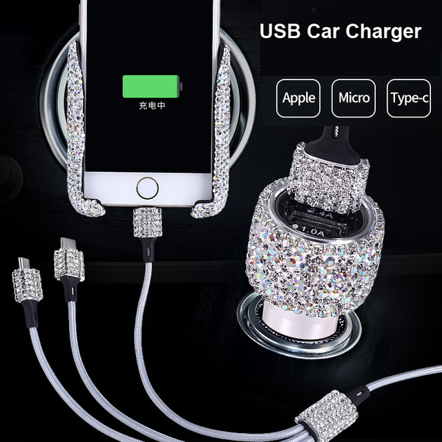 Dual USB Car Charger For Mobile Phone Tablet GPS Fast Charger Crystal Diamond Phone 3 Data Line Wire in Car Cigarette Lighter