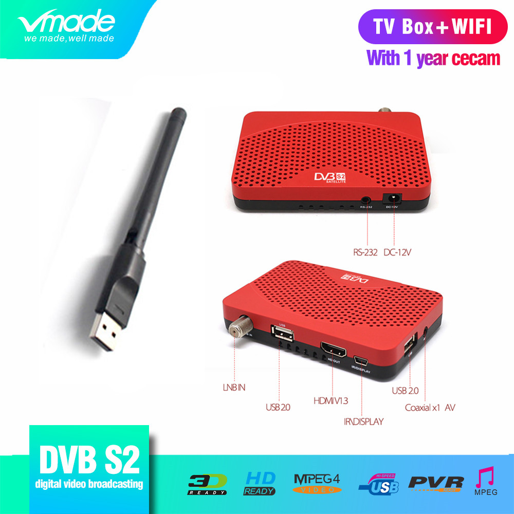 1 Year Europe 7 Lines CCCAM Account with DVB S2 Digital Satellite TV Receiver Support YouTube HD 1080p DVB S2 TV Box + USB WIFI