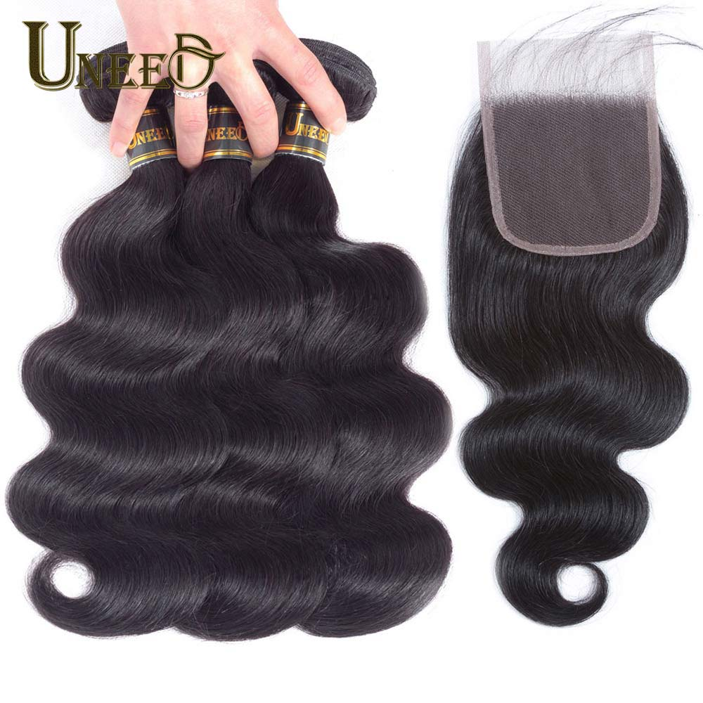 Uneed Hair Peruvian Body Wave 3Bundles With Closure 100 Human Hair Bundles With Closure 1B Color