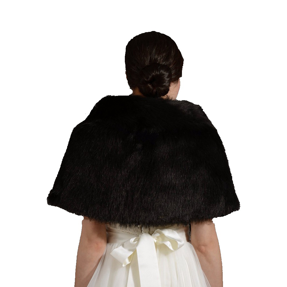 Купить с кэшбэком Walk Beside You Winter Black Bolero Faux Fur Warm Wedding Jacket with Collar Shawl Bridal Faux Fur Wrap Stock Wedding Accessores