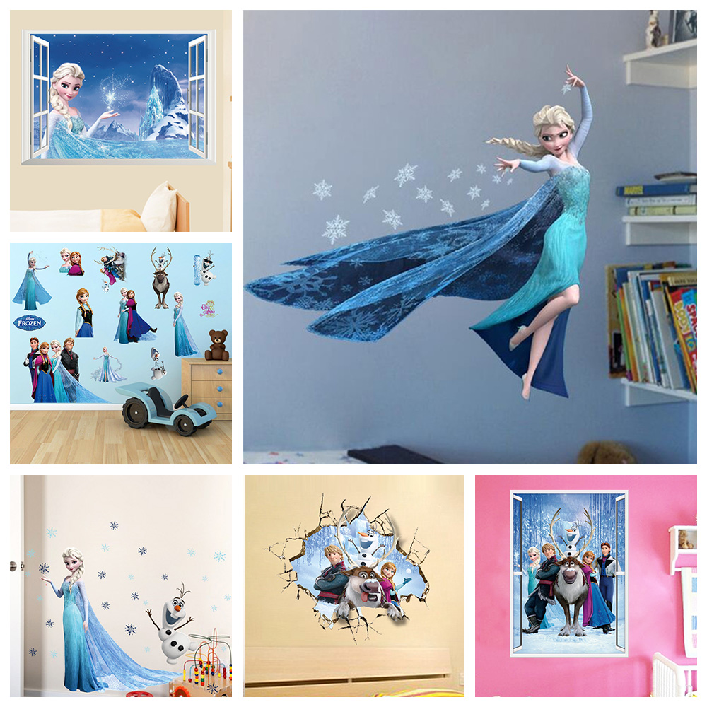 Cartoon Elsa Anna Princess Wall Stickers For Girls Room Home Decoration Diy Anime Mural Art Frozen  Movie Poster Kids Wall Decal plan