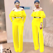 women's jumpsuit sexy fashion word collar tube top jumpsuit ruffled yellow jumpsuit without belt