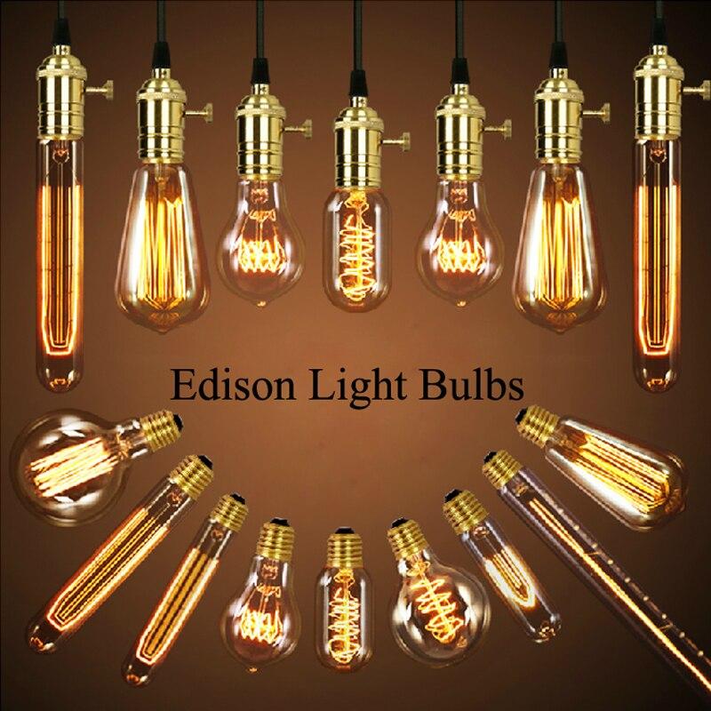 Single Heads American Vintage Pendant Lights Copper Lamp