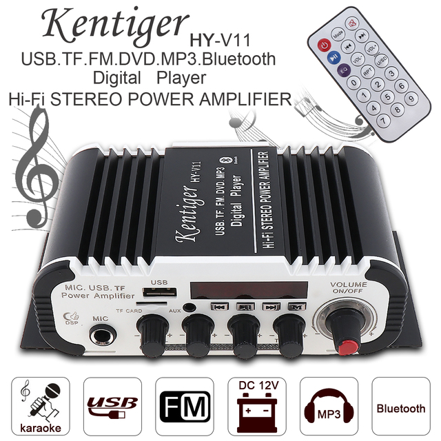 Best Offers KentigerV11 2CH HI-FI Bluetooth Car Audio Power Amplifier FM Radio Player Support SD / USB / DVD / MP3 Input for Car Motorcycle