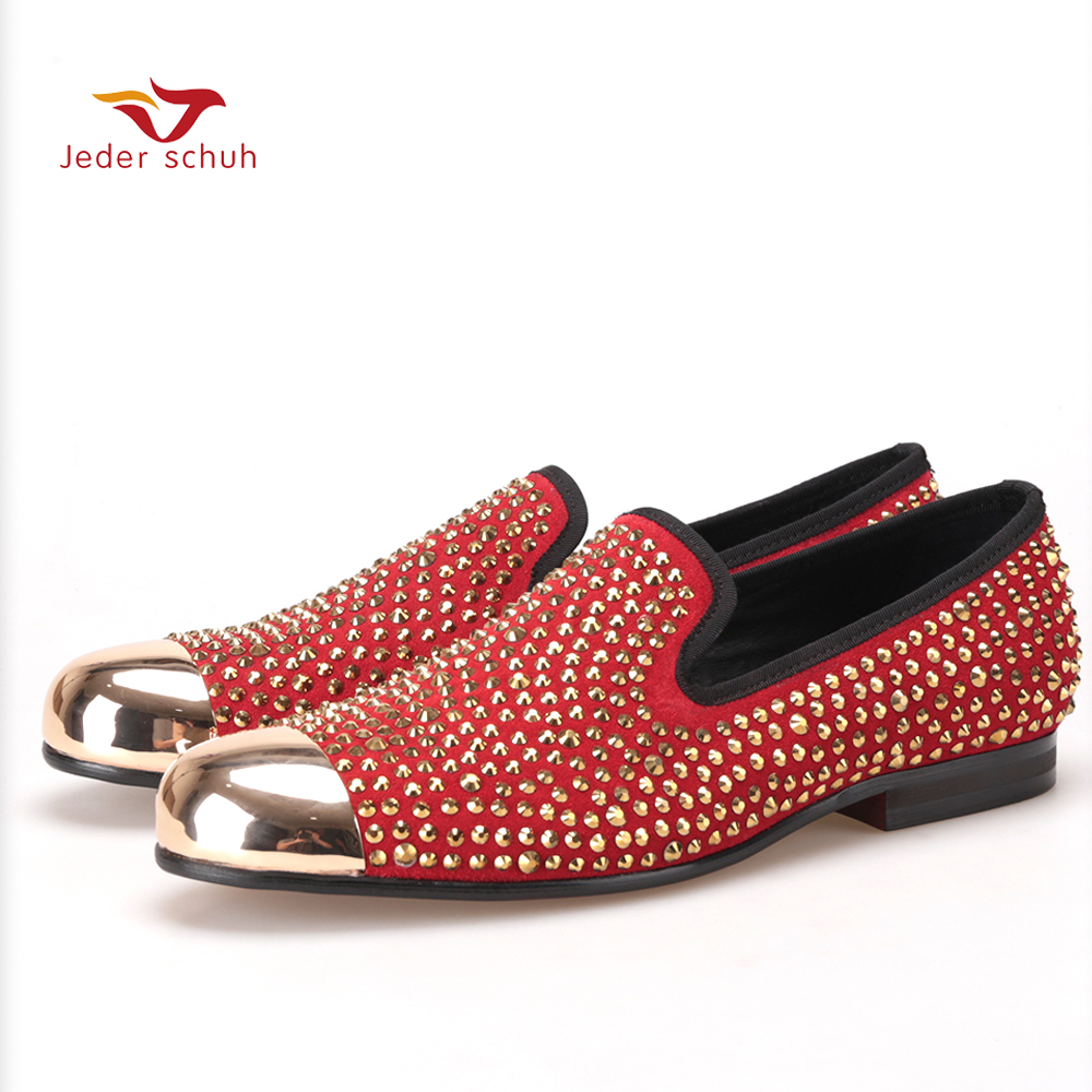 Handmade red suede men shoes with gold Rhinestone and gold toe metal Party and Banquet men dress loafers male's flats цена 2016