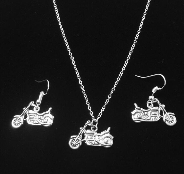 Hot Sale Fashion Antique Silver Plated Motorcycle Pendants Necklace/Earrings Wedding Accessories Jewelry Sets For Women