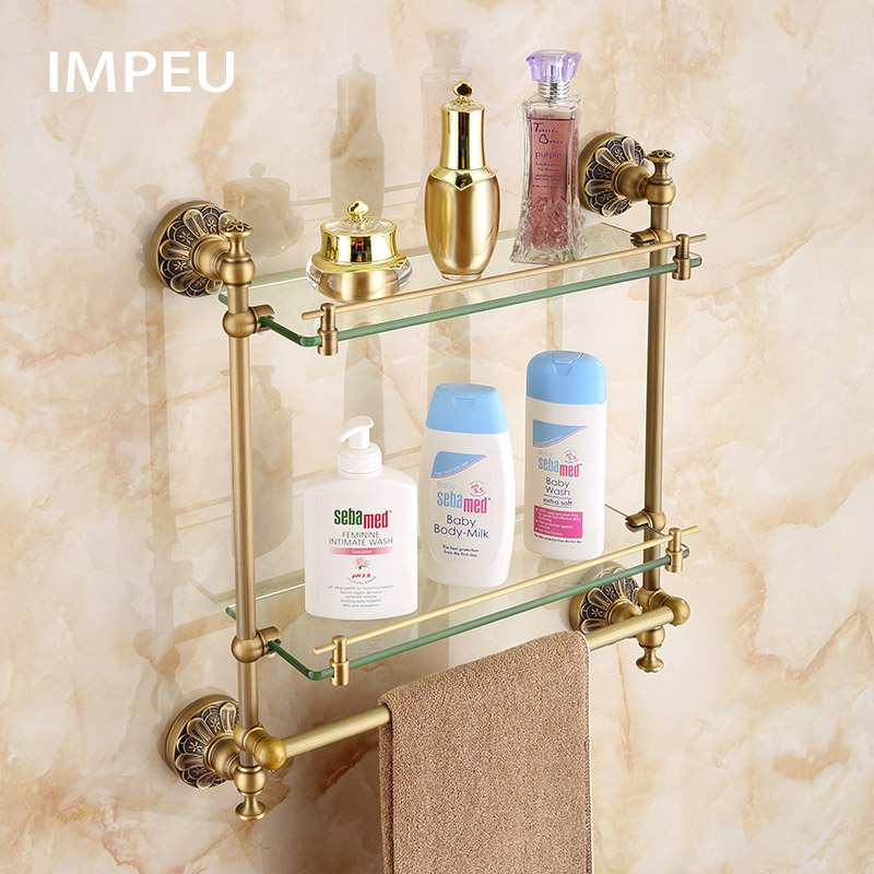 Peachy Double Bathroom Glass Shelf With Towel Bar Lavatory Two Tiers Tempered Glass Wall Mounted Shelf Antique Bronze Finish Home Interior And Landscaping Oversignezvosmurscom