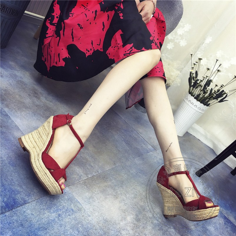 Platform Thick Heels Pu Style High Quality font b Woman b font Shoes Wedge Soft Leather