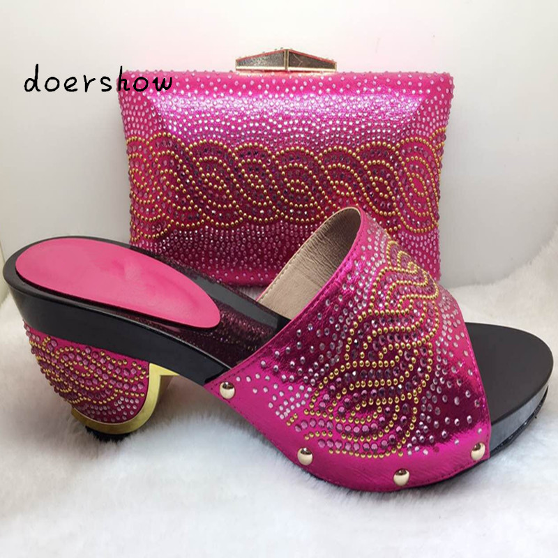 Top Quality doershow Fashion Italian Shoes With Matching Bags Set For Party African Shoes And Bag Set For Wedding ! bb1-4 bb1 женщинам