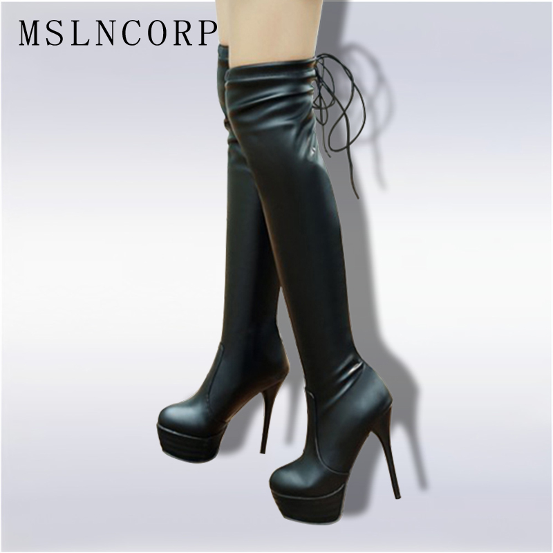 Plus Size 34-46 Fashion Women leather boots Sexy Fashion Over the Knee Boots Thin Heel Platform Woman Shoes Black Female boots big size 34 45 women boots over the knee shoes black white slim thin high boots sexy ladies fashion shoes 86278