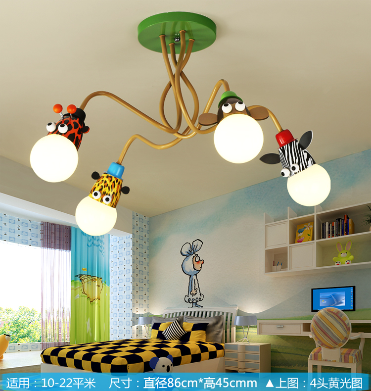 Novelty LED White Bulb Ceiling Lights Cartoon Animal Monkey Zebra Giraffe Children Kids Bedroom Room Lamps Hang Pendent Light