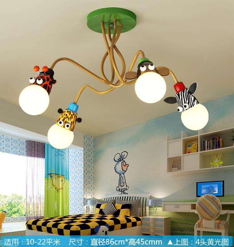 Novelty LED White Bulb Ceiling Lights Cartoon Animal Monkey Zebra Giraffe Children Kids Bedroom Room Lamps Hang Pendent Light