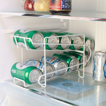 White Cans Storage Holders Racks Beverage Soda Coke Beer Can Dispenser Storage Rack Refrigerator Kitchen Organizer Tools TSLM2 cheap Liplasting Metal Floor Type DOUBLE Non-folding Rack Eco-Friendly HJ85565 Storage Holders Racks Cans Storage Racks