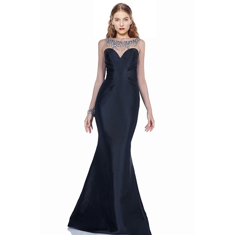 Sexy Black Mermaid Evening Dresses Bateau Neck Beaded Sequined Pleated Back Slit Formal Gown 2017