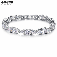 AMOURJOUX Pretty Clear Triangle Square AAA Zircon Inlaid White Gold Color Charm Bracelets Bangles For Women
