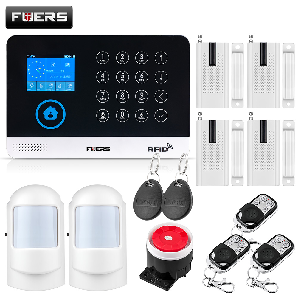 FUERS Wireless Home Security GSM WIFI SIM Alarm System IOS Android APP Remote Control RFID Card PIR Door Sensor Siren kit