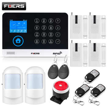 FUERS Wireless Home Security GSM WIFI SIM Alarm System IOS Android APP Remote Control RFID Card PIR Door Sensor Siren kit - DISCOUNT ITEM  33% OFF All Category