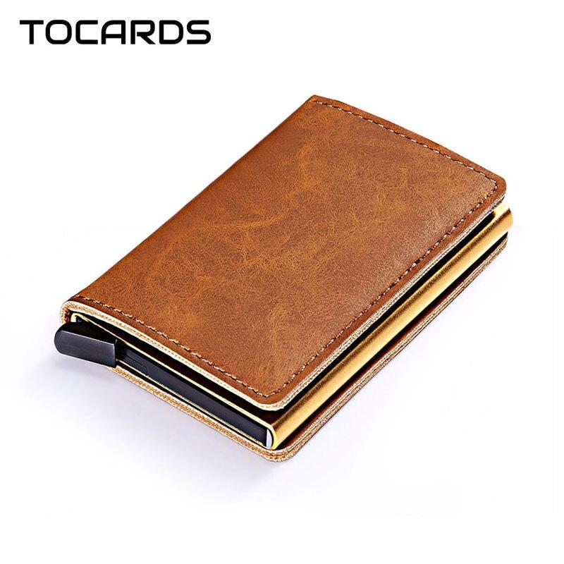 Rfid que bloqueia o titular do cartão de crédito de couro automático do vintage dos homens da liga de alumínio do metal da identificação do negócio multifuncional carteira do titular do cartão