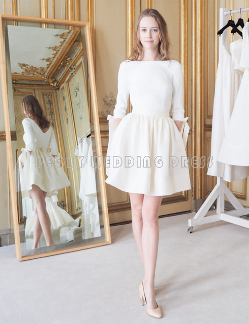 a1db176302 Fashion Ivory Short Satin Wedding Dresses Boat Neck V Back Sleeve Mini Ball Gown  Wedding Dresses With Bows Bridal Gowns SW05