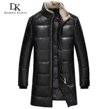 2017 New Brand leather down jackets men Dusen Klein Genuine sheepskin duck down mink fur collar leather coats 61I7023