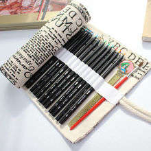 School Pencil Case National Canvas Holes Roll Up Bag Portable Box Pencilcase Curtain Pencils Beauty Escolar
