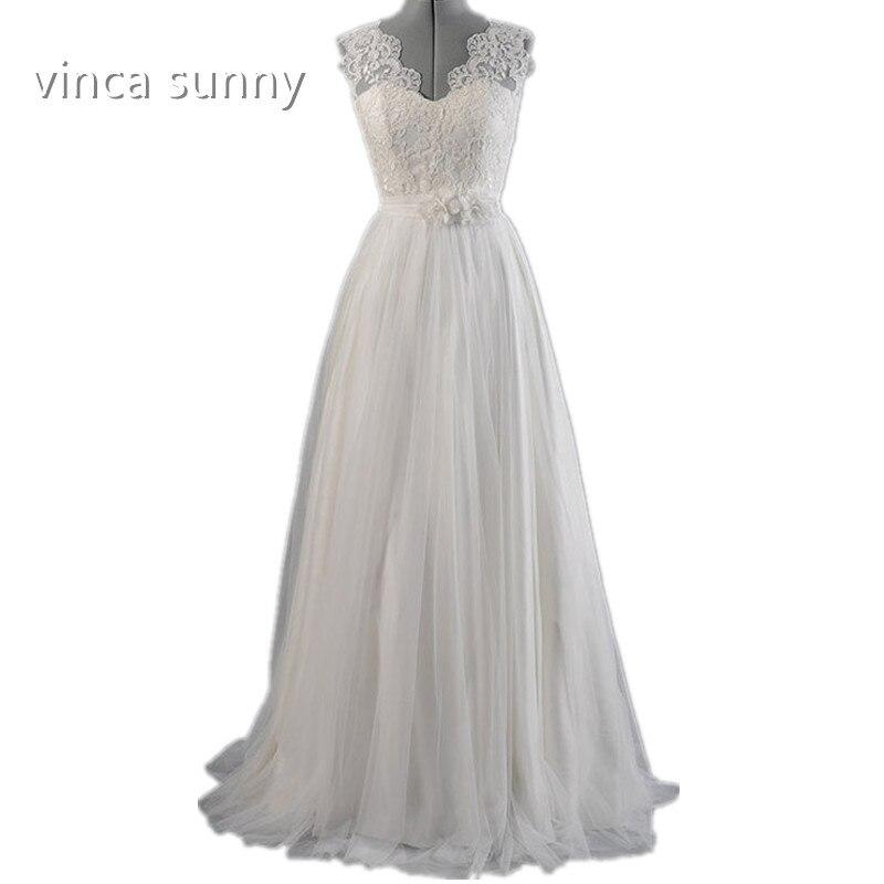 291561a2c Vinca Sunny vestidos de novia 2018 robe de mariage una línea V cuello de  encaje applique V backless piso longitud vestido Noiva más tamaño